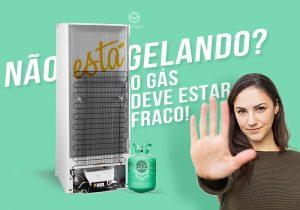 Mulher com a palma estendida em referência ao pare com uma foto da traseira da geladeira atrás