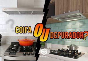 Foto de duas cozinhas uma com depurador e outra com a coifa